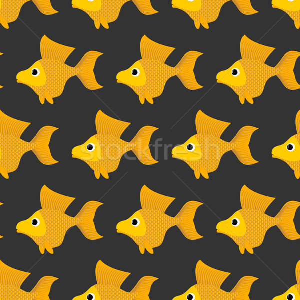 Aranyhal végtelen minta vektor mesés citromsárga hal Stock fotó © popaukropa