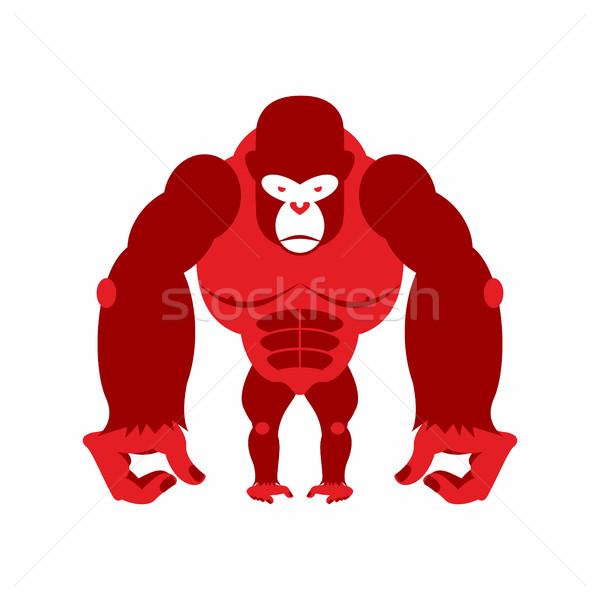 Gorilla nagy ijesztő erős piros mérges Stock fotó © popaukropa