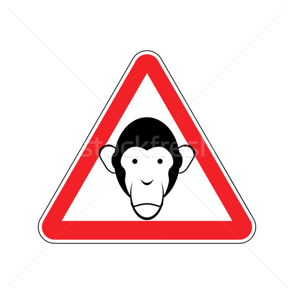 Monkey Warning sign red. Primacy of Hazard attention symbol. Dan Stock photo © popaukropa