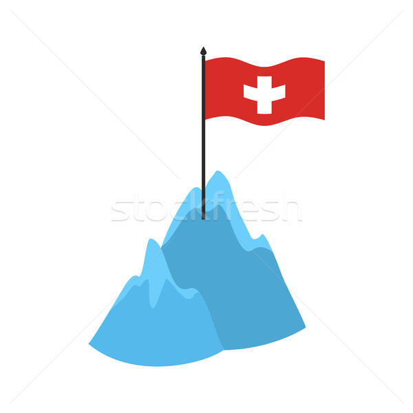Swiss Alps Mountains icon. High cliffs and snow Swiss flag Stock photo © popaukropa