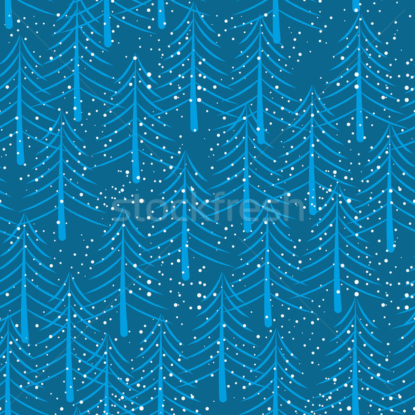 Winter forest seamless pattern. Christmas trees and snow backgro Stock photo © popaukropa