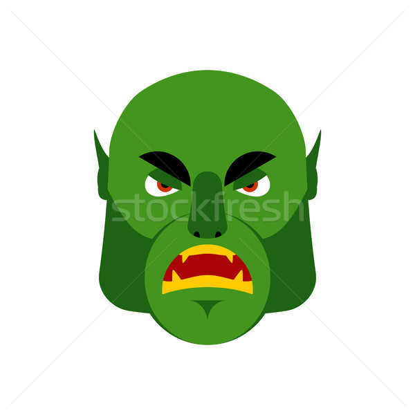 Stock photo: Ogre angry Emoji. Goblin evil emotion isolated. Green monster fa