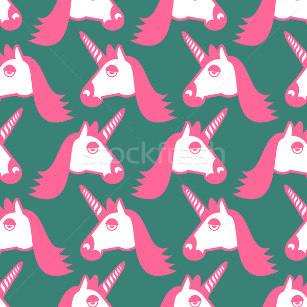 Unicorn seamless pattern. Head of fantastic animal background. M Stock photo © popaukropa