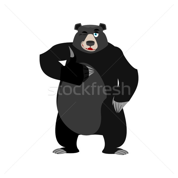 Baribal winks Emoji. American Black Bear thumbs up emotion isola Stock photo © popaukropa