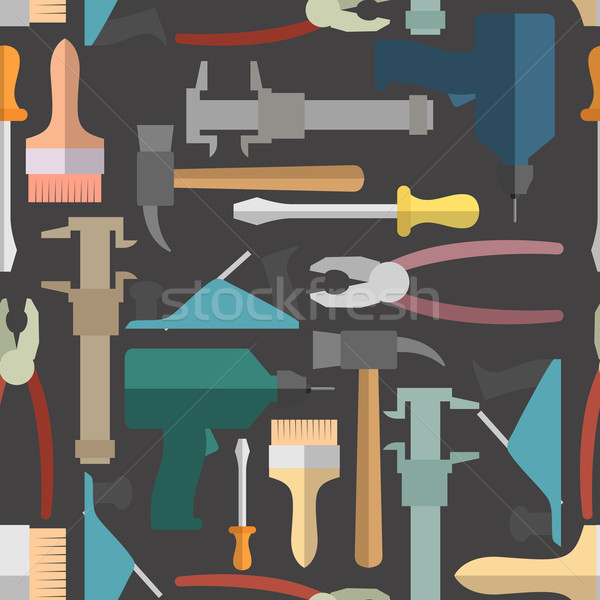 Construction tools seamless Pattern. Vector background Stock photo © popaukropa