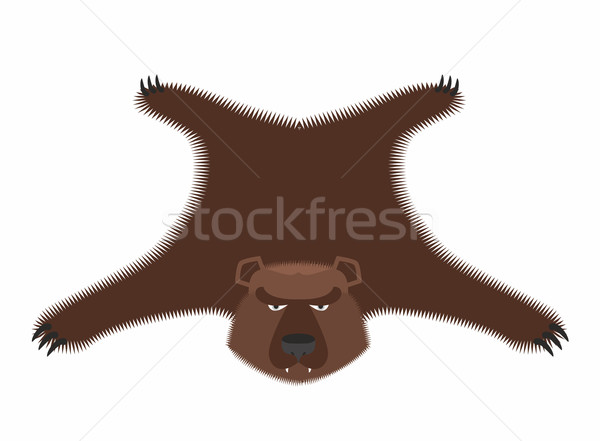 Bear pelt. Big brown bear Grizzly hide. Hunting trophy. Vector i Stock photo © popaukropa