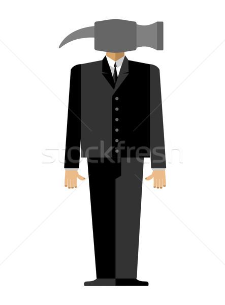 Man hamer zakenman pak hoofd werk Stockfoto © popaukropa