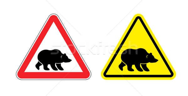 Attention bear warning sign. Hazard yellow sign Grizzly. Silhoue Stock photo © popaukropa