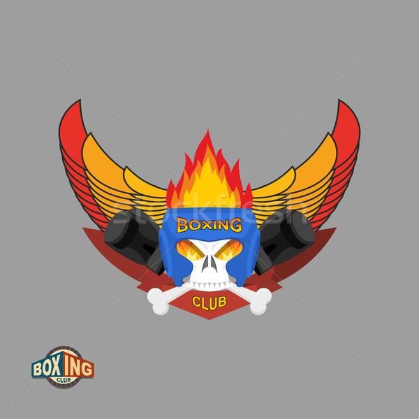 Spor kalkan amblem boks logo kafatası Stok fotoğraf © popaukropa