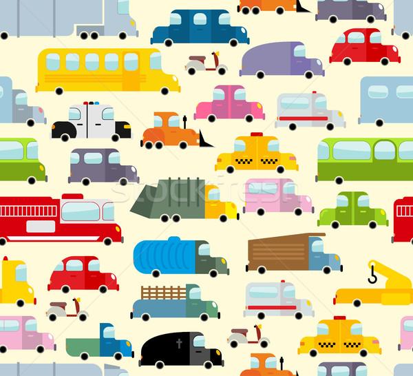 Cartoon car pattern. City traffic jam. Diverse ground Transoprt. Stock photo © popaukropa