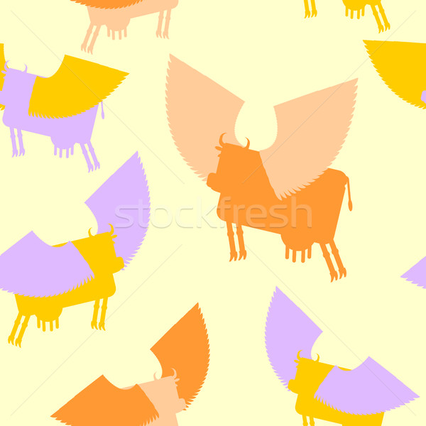 Cow wings seamless pattern. Colored Silhouettes Flying animal. v Stock photo © popaukropa