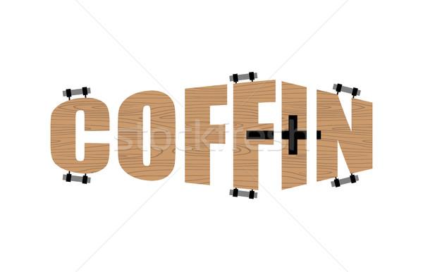 Texte forme cercueil logo emblème funérailles Photo stock © popaukropa