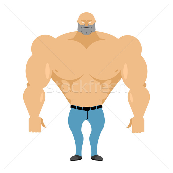 Strong man bare-chested in blue jeans. Athletic body with huge m Stock photo © popaukropa