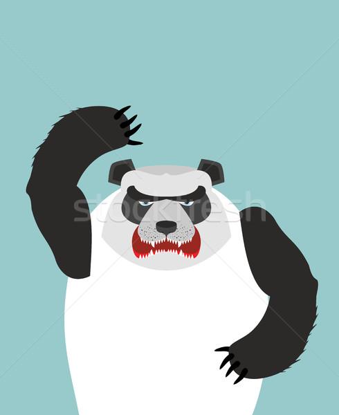 Enojado panda tener cara hoja arte Foto stock © popaukropa