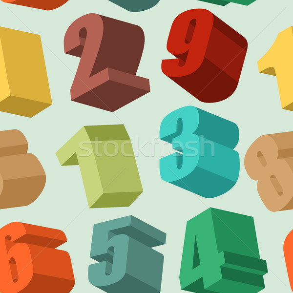 3d numbers seamless  pattern. Vector background Stock photo © popaukropa