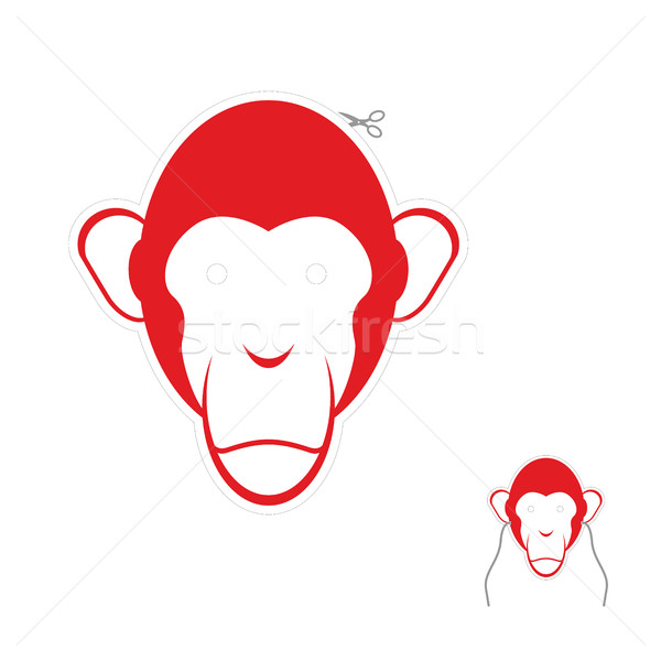 Festive red monkey mask. Symbol of new year. Stock photo © popaukropa
