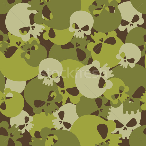 Military texture of skulls. Camouflage army seamless pattern fro Stock photo © popaukropa