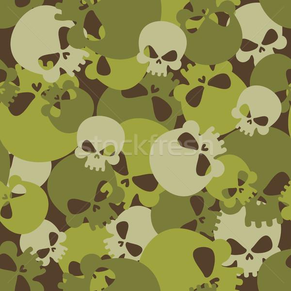 Militaire textuur schedels camouflage leger Stockfoto © popaukropa