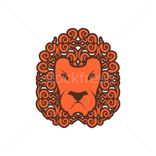 Lion tattoo. Mane ornament. Leo tattooing. wild animal Stock photo © popaukropa