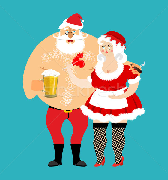 Bad Santa and Mrs. Claus isolated. drunk Christmas family. Woman Stock photo © popaukropa