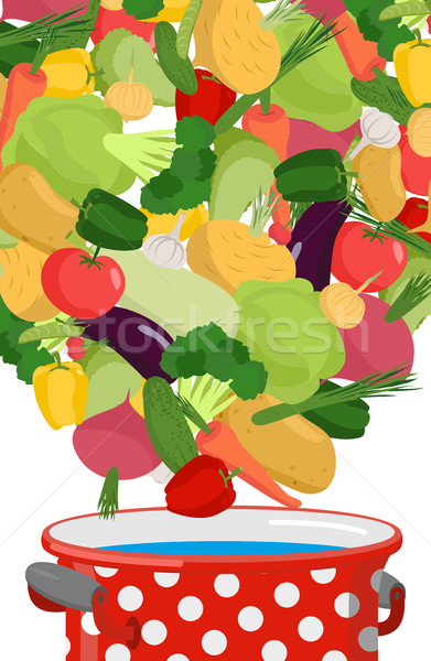 Vegetables in saucepan. Boil vegetable soup. Vegetarian food. Co Stock photo © popaukropa