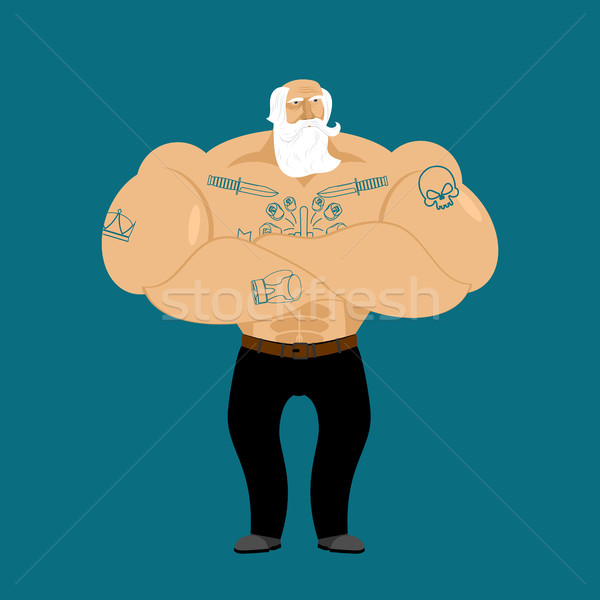 деда татуировка пенсионер модный сильный Сток-фото © popaukropa