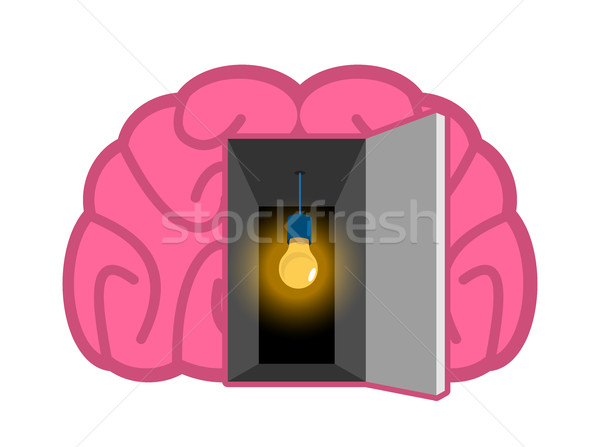 Brain with light bulb Open door. concept of mind illumination. P Stock photo © popaukropa