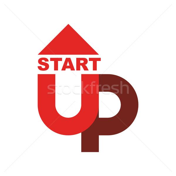 Kezdet felfelé logo startup embléma fut Stock fotó © popaukropa