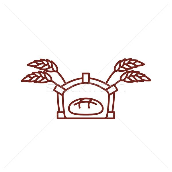 Ekmek fırın hat ikon imzalamak üretim Stok fotoğraf © popaukropa