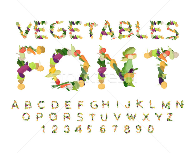 Vegetarian font. Alphabet of vegetables. Edible letters. Potatoe Stock photo © popaukropa