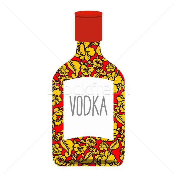 Russian vodka bottle Khokhloma painting. National folk alcoholic Stock photo © popaukropa
