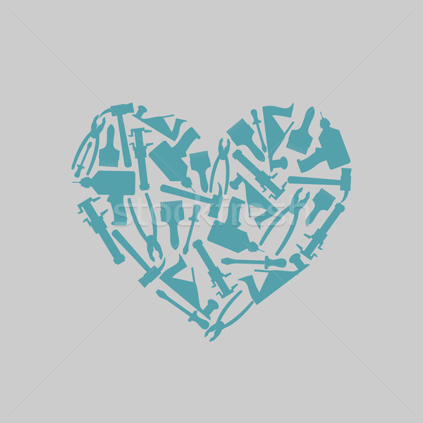 Symbol heart of carpentry tools. Logo for carpentry shop or mast Stock photo © popaukropa