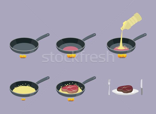 Steak. Cooking instruction meat in a frying pan. Frying Bacon fo Stock photo © popaukropa