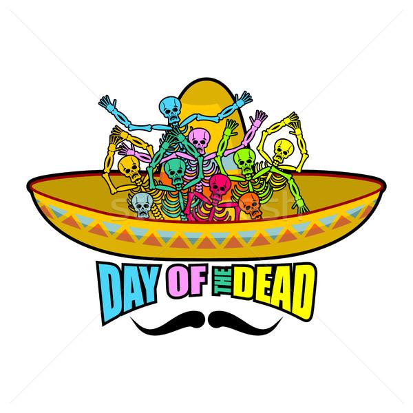 Día muertos sombrero cráneo mexicano Foto stock © popaukropa