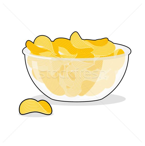 Foto stock: Batatas · fritas · tigela · frito · batatas · profundo · transparente