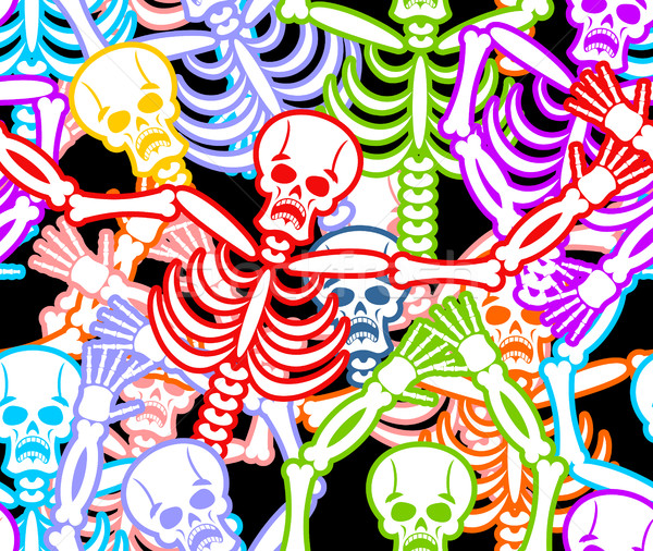 Multicolored skeleton ornament. Day of the Dead seamless patter Stock photo © popaukropa