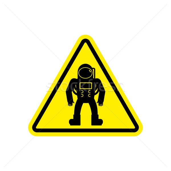 Stock fotó: űrhajós · figyelmeztető · jel · citromsárga · űrhajós · veszély · figyelem