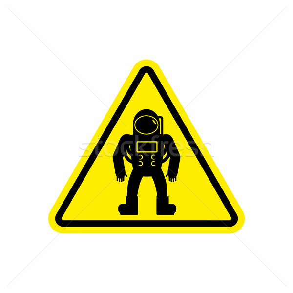 Astronaut Warning sign yellow. Cosmonaut Hazard attention symbol Stock photo © popaukropa