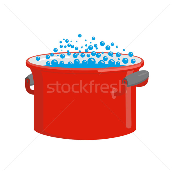 Red pan with water isolated. Kitchen utensils for cooking Stock photo © popaukropa