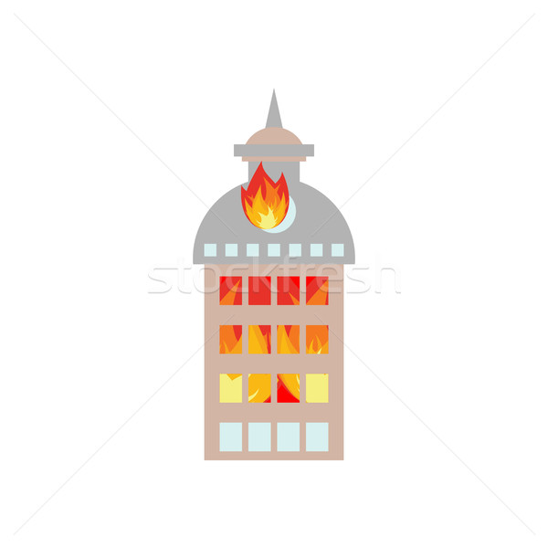 Fire in building. Flames from office windows. Arson home. Burn f Stock photo © popaukropa