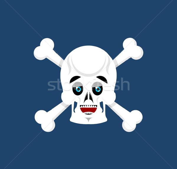 Skull and crossbones happy Emoji. skeleton head marry emotion is Stock photo © popaukropa