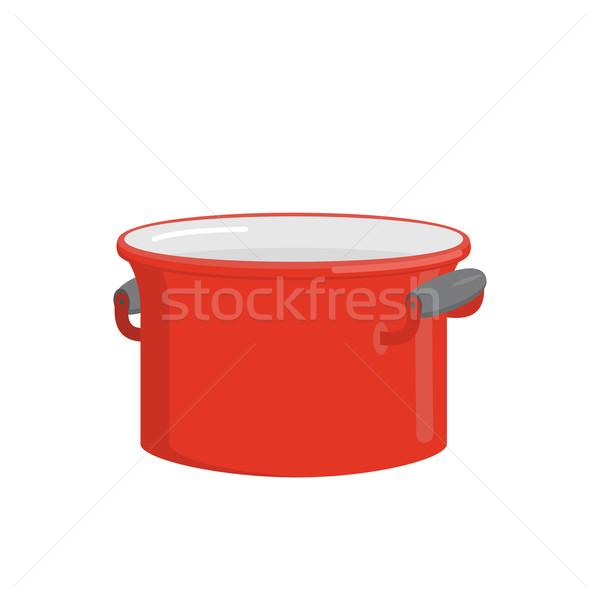 Kırmızı pot sofra takımı pişirme gıda mutfak gereçleri Stok fotoğraf © popaukropa
