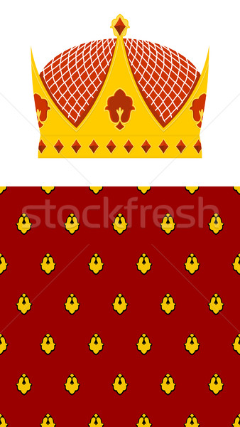 Set Crown and mantle. Royal Crown. Jewelry accessory made of gol Stock photo © popaukropa