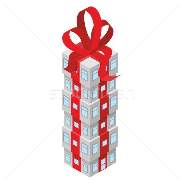 Geschenk gebouw Rood boeg kantoorgebouw ingericht Stockfoto © popaukropa
