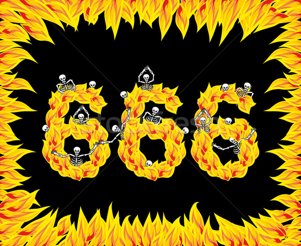 666 number of devil. Fire numeric. Skeletons in inferno. Sinners Stock photo © popaukropa