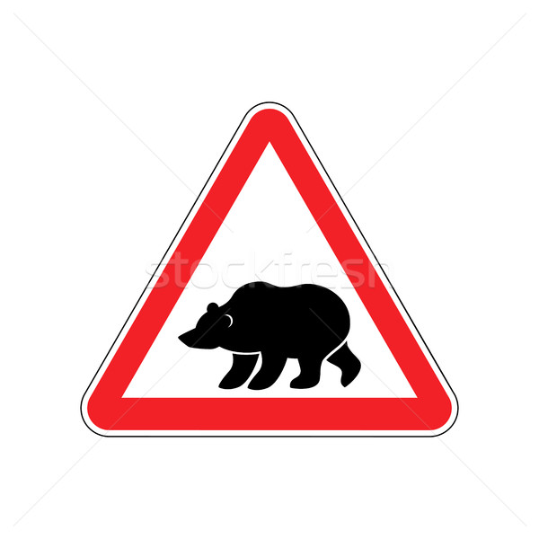 Bear Warning sign red. Predator Hazard attention symbol. Danger  Stock photo © popaukropa