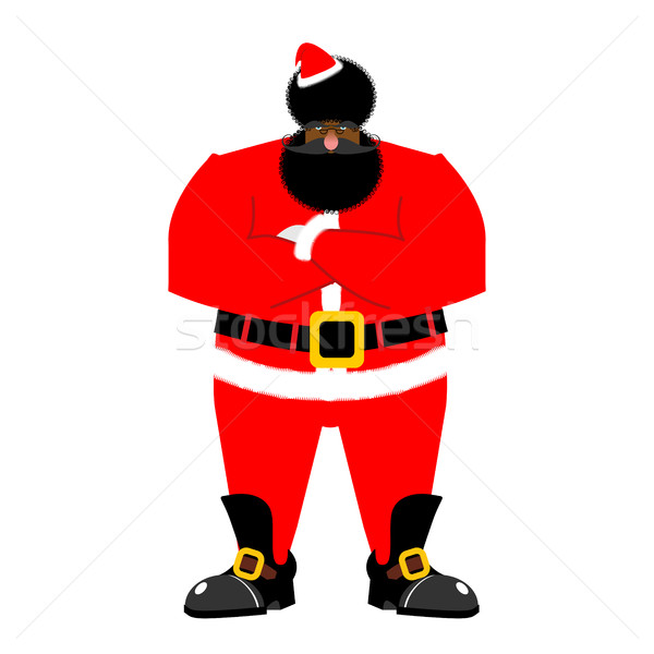 Grumpy black Santa. Angry African Claus. irate Christmas Aframer Stock photo © popaukropa
