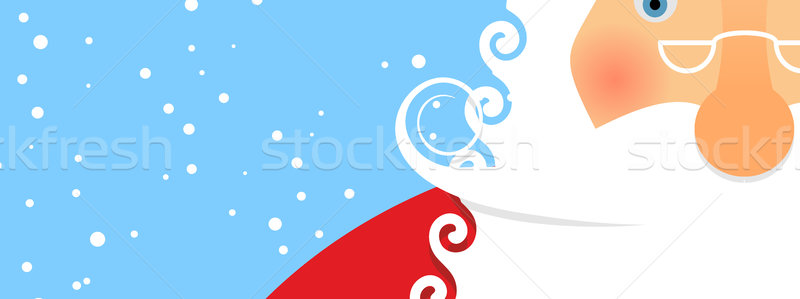 Face Santa and snowfall. Portrait of grandfather. Christmas card Stock photo © popaukropa