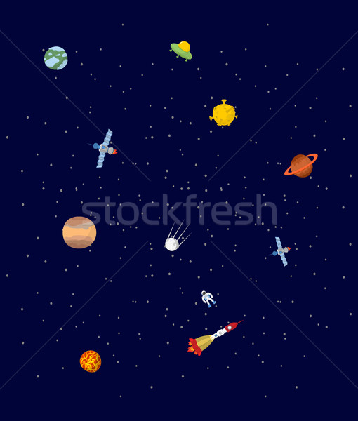 Space. Pplanets and spaceships. UFO and astronaut. Stars on cosm Stock photo © popaukropa