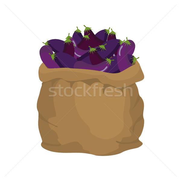 Eggplant Burlap bag. sack of vegetables. big crop on farm. sackf Stock photo © popaukropa